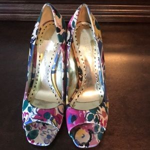 BCBG Floral Peep Toe Pumps